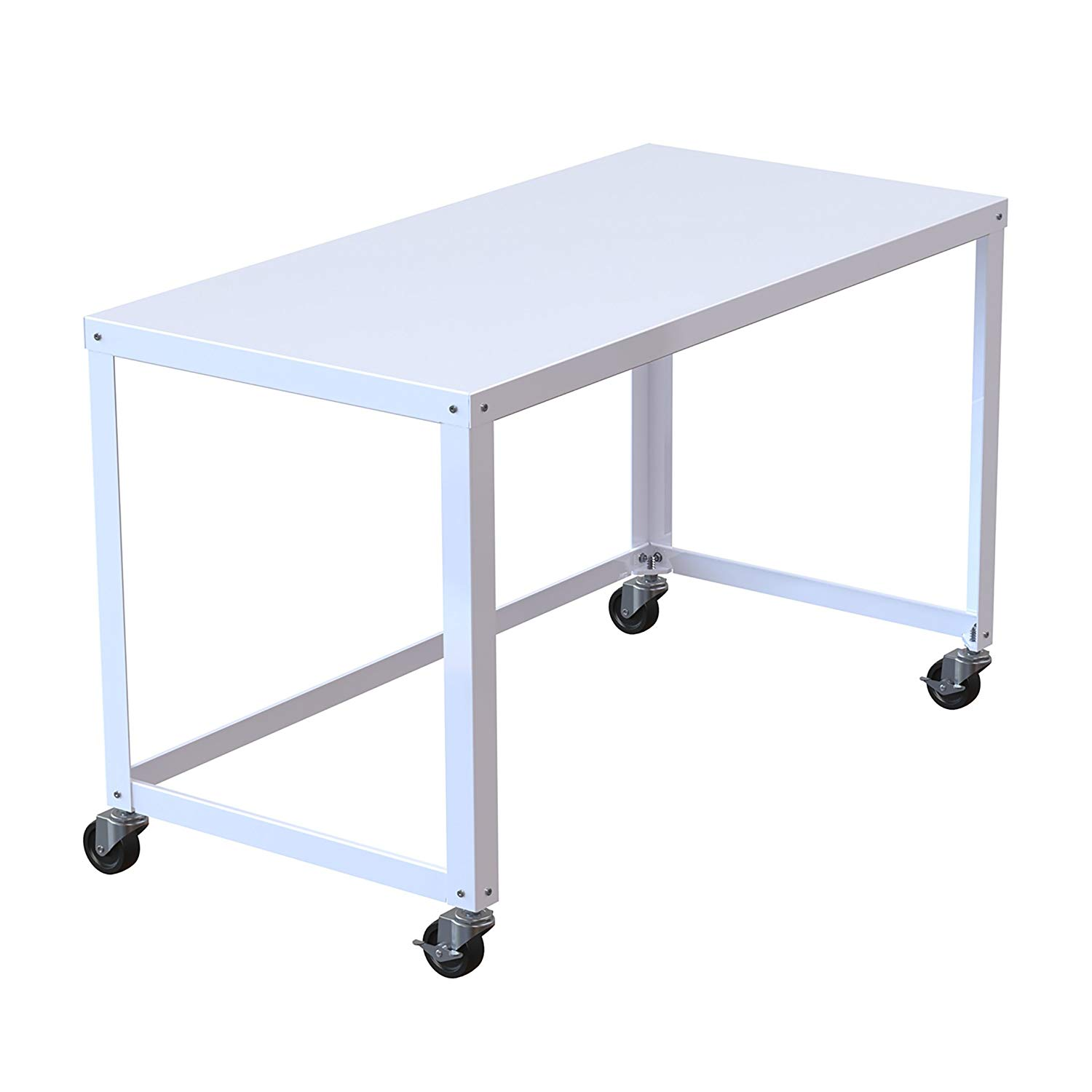 MyEasyShopping Industrial Modern White 48-inch Mobile Desk Rolling Cart Adjustable Table Computer Portable