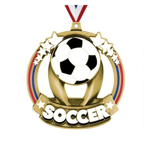 Five stars 3d diecast zinc alloy material antique bronze plating hollow out enamel soccer sports medal