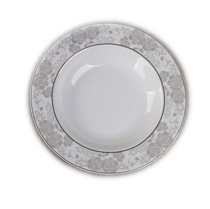 Popular 8.5 inch grey color ceramic deep soup plate