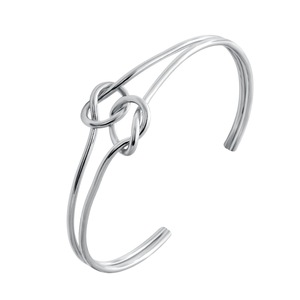 SENFAI New Fashion Design silver/gold/rose gold Plating Double Love Knot Cuff Bangle for Women