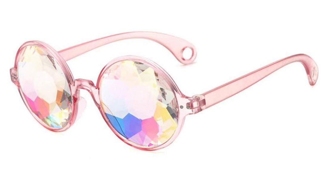 Tmrow 1pc Kaleidoscope Rainbow Glasses Prism Refraction Goggles for Festivals,Pink