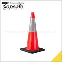 70cm/28inch orange color with black base Injected soft pvc road traffic safety cone