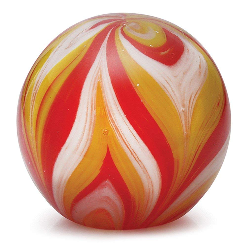 "Glass Handmade Large Paperweight - Feather Yellow & Red Glow - 4"" tall. One-of-a-kind. FREE SHIPPING to the lower 48 when you spend over $35.00"