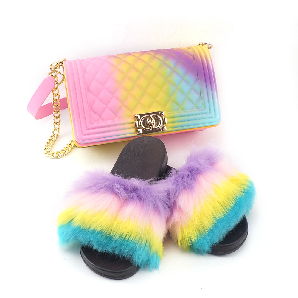 2020 hotsale colorful purse and fur slides two piece set for <strong>women</strong>