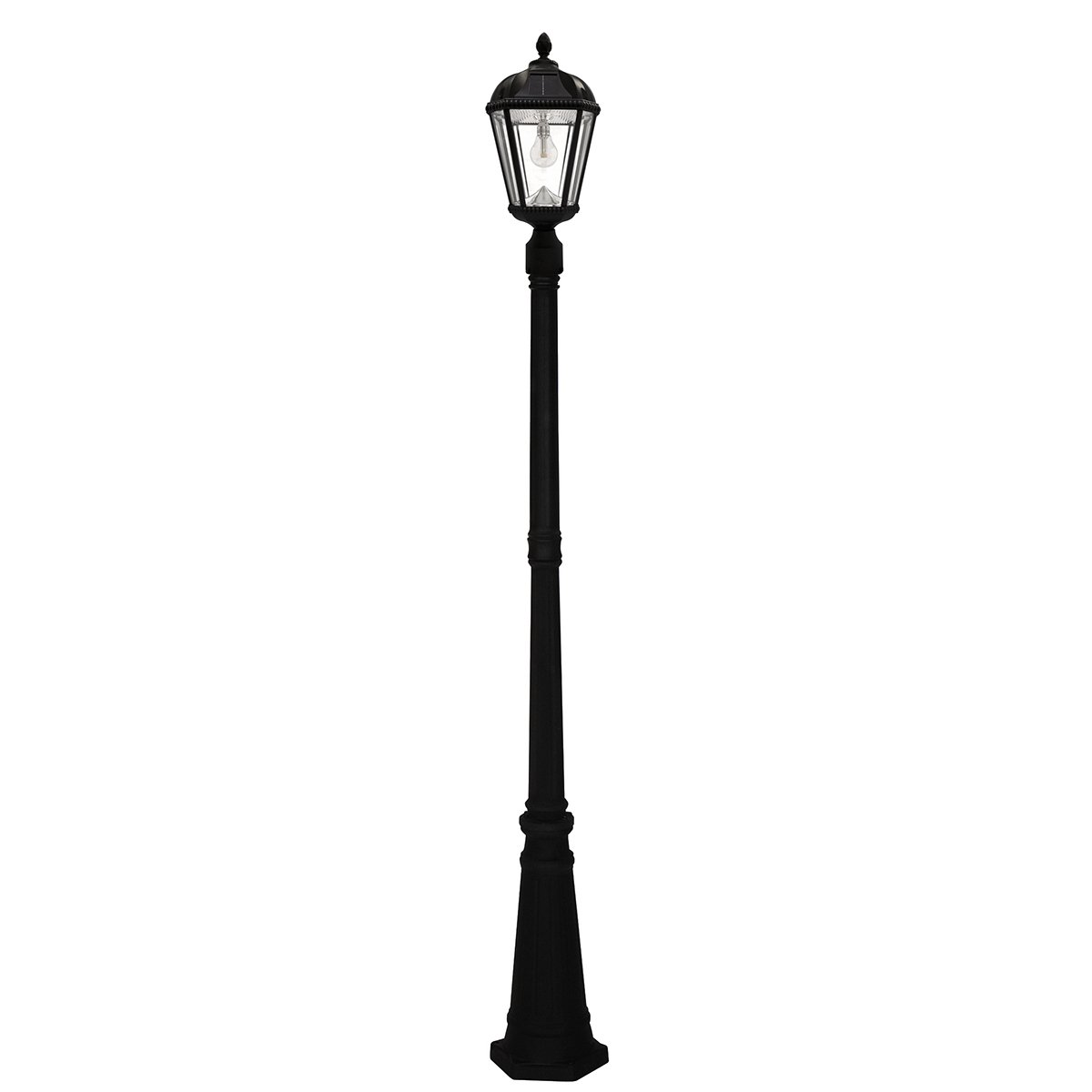 Gama Sonic Royal Bulb Solar Outdoor Lamp Post GS-98B-S-B - Black Finish