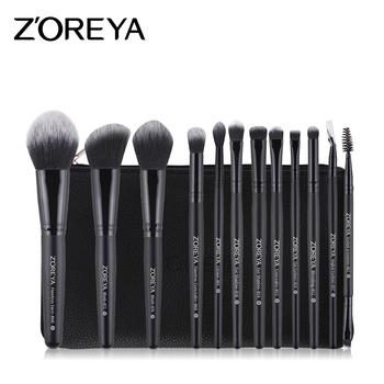 zoreya hot sale 12 pcs classical black makeup brush set