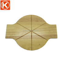 Wholesale round rubber wooden pizza tray with handle