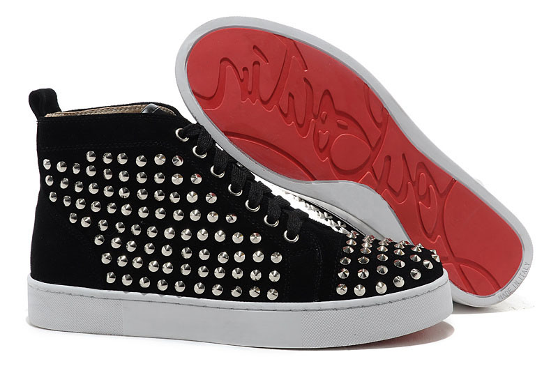 Black suede leather silver flat nails high shoes 2015 fashion red bottom sneakers size 35-46