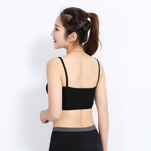 womens cotton and spandex plain design padded yoga short bra top with strappy racer back , fitness/wears