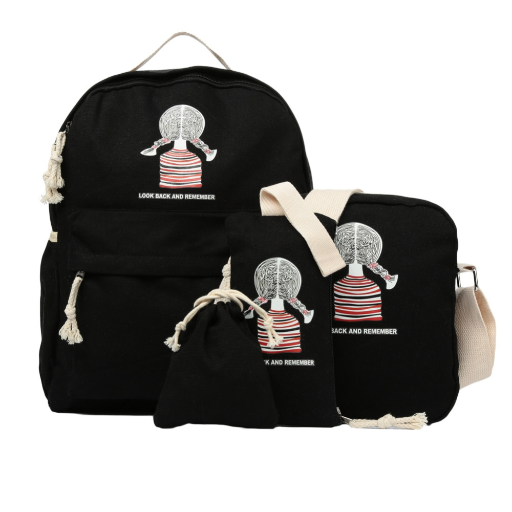 Casual Women Canvas Backpack Set School Bag Bookbag Preppy Style Printing Cute Teenager Girl Laptop Black/Light Blue/Dark Blue
