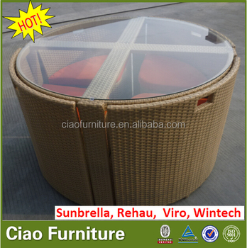 Family rattan glass table and chair save space dining set