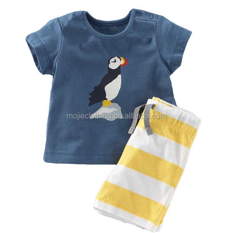 kids baby boy clothing sets for summer, infant baby boy clothes set, penguin print tops t-shirts + shorts