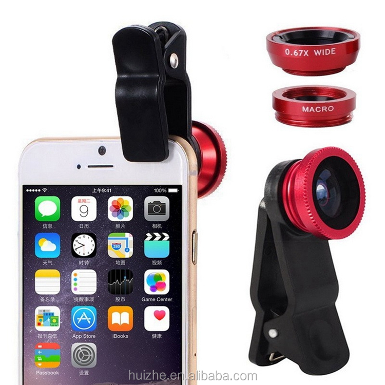Universal Fisheye Lens 3 in 1 Mobile Phone Clip Lenses Fish Eye Wide Angle Macro Phone Camera Lens for Smartphone