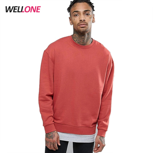Fashion 100% cotton fleece orange oversized streetwear blank custom printing logo sweatshirt men crewneck