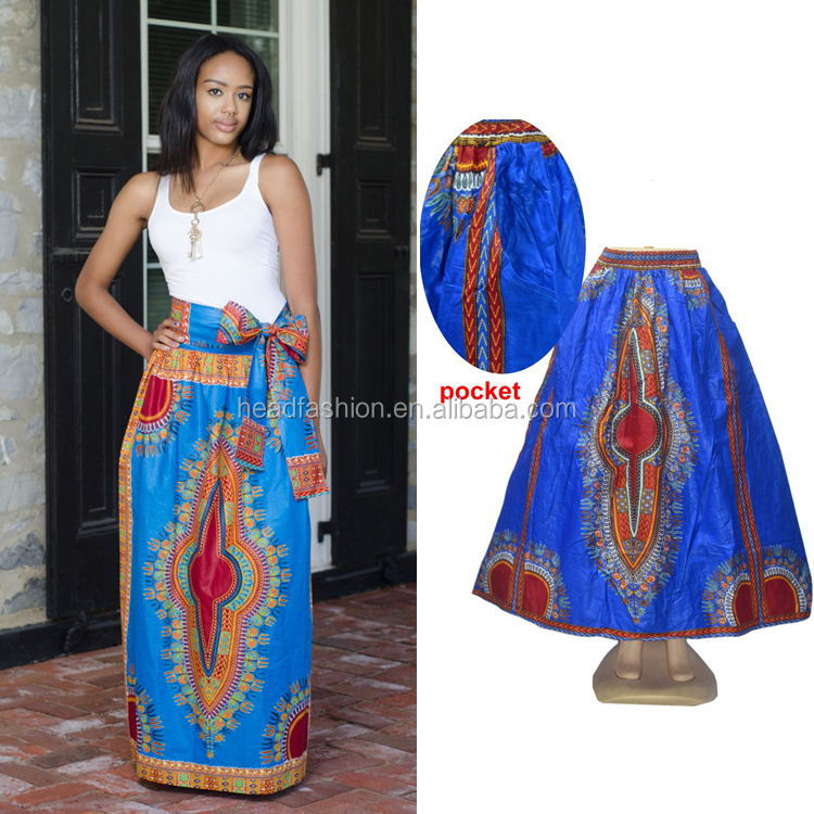 Queency African Ethnic Style Elastic Waist Dashiki Wax Printed Skirt with Pockets for Women Wholesale