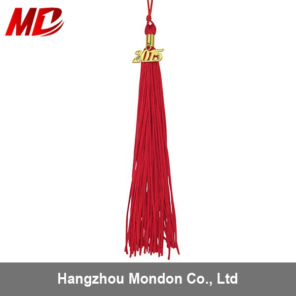 Factory direct Red Single Color Graduation tassel with 2015 year charm