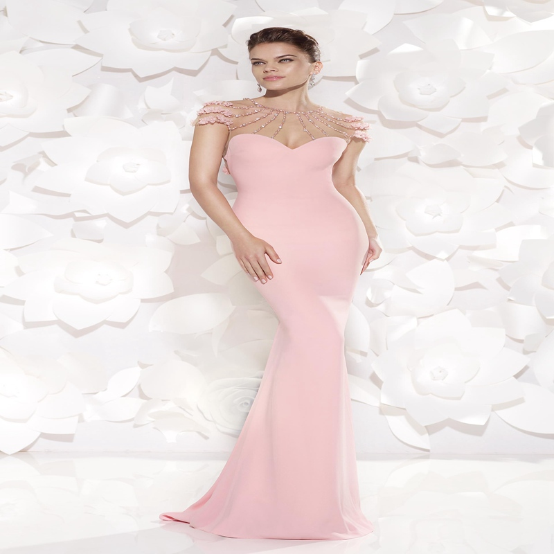 bbde908568d Get Quotations · Beautiful Pink Mermaid Evening Dress 2015 O-neck Cap  Sleeves Beaded Pearls Tarik Ediz Evening