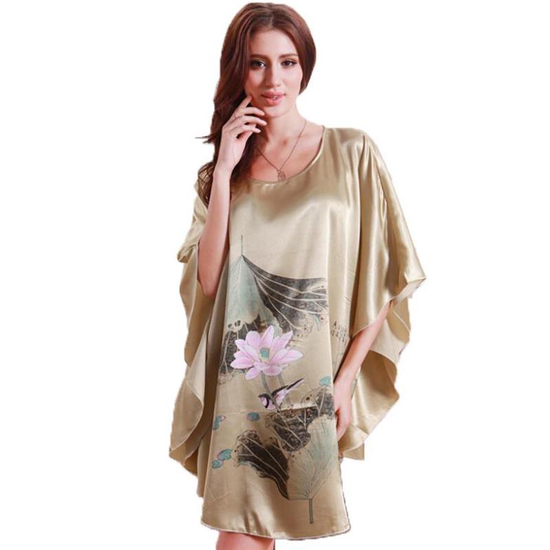 e823f8b0c0358 Get Quotations · Women Clothing Nightgowns Robes Batwing Silk Satin Pajama  Feminino Summer Big Plus Size 4XL XXXL XXL