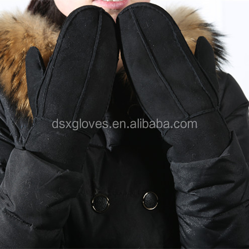 gloves mittens factory offer cheap price sheeksin shell fur lining fur gloves mittens