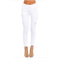 Wholesale price stock high quality leggings jeans white push up baggy jeans for women