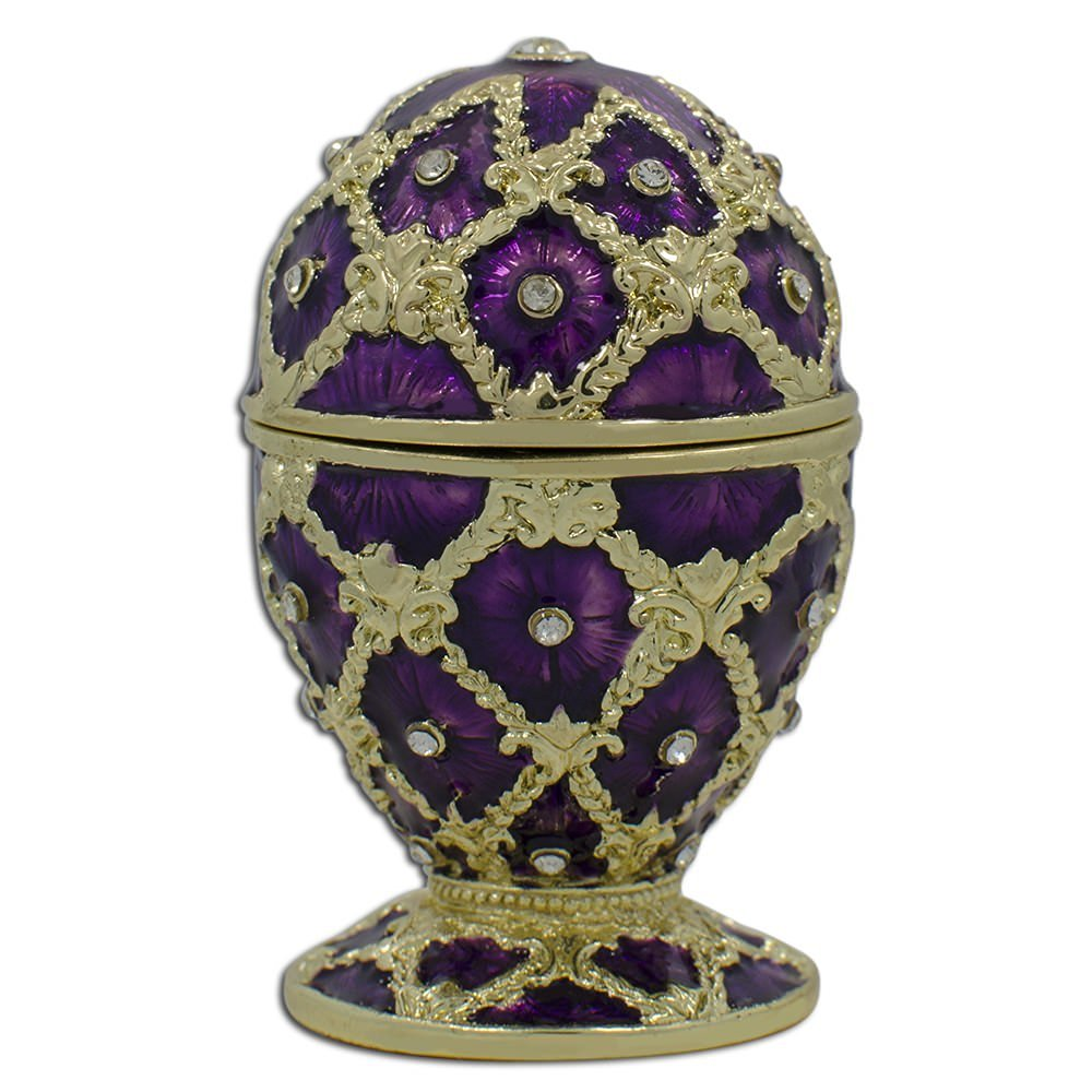 """2.5"""" Purple Trellis Faberge Inspired Russian Easter Egg"""