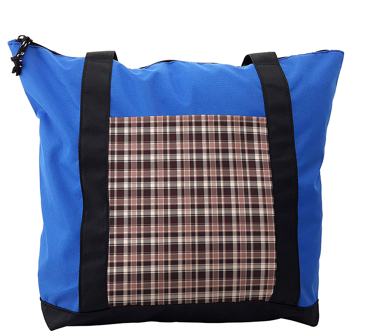 Lunarable Vintage Shoulder Bag, Gingham Style Checkered, Durable with Zipper