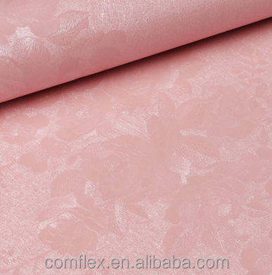 3D Embossed Pink Rose Pattern Silk Like Wall Paper European Elegant Floral Wallpaper Wall Covering Rolls
