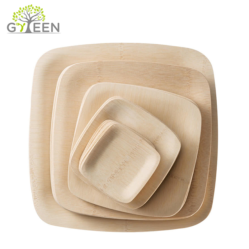 100% Natural Eco-friendly Sustainable Disposable Bamboo Airline Dishes and Plates