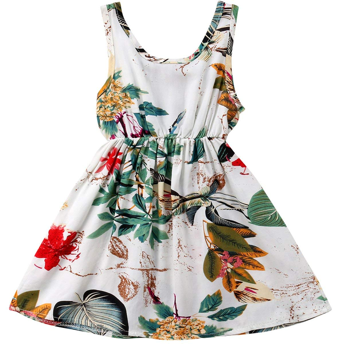 Aidio Baby Girl Strap Dress Striped Rose Flower Vintage Floral Toddler Casual