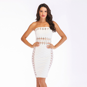 New Sexy bodycon Dress Solid White Lace Strapless Hollow Out Luxury Brand Bandage Dress