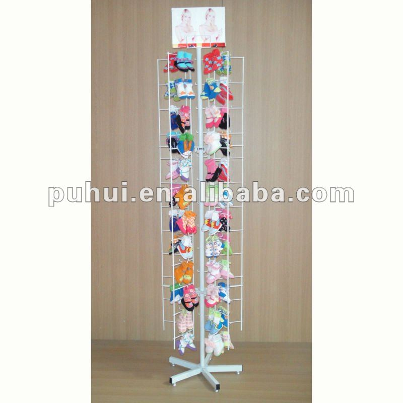 iron rod peg hooks hanger custom metal wire rotating floor display for hanging merchandise