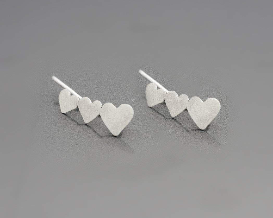 Heart Earrings, Ear Sweep Set, Left and Right Handmade Designer Ear Climber Studs Made of 925 Sterling Silver