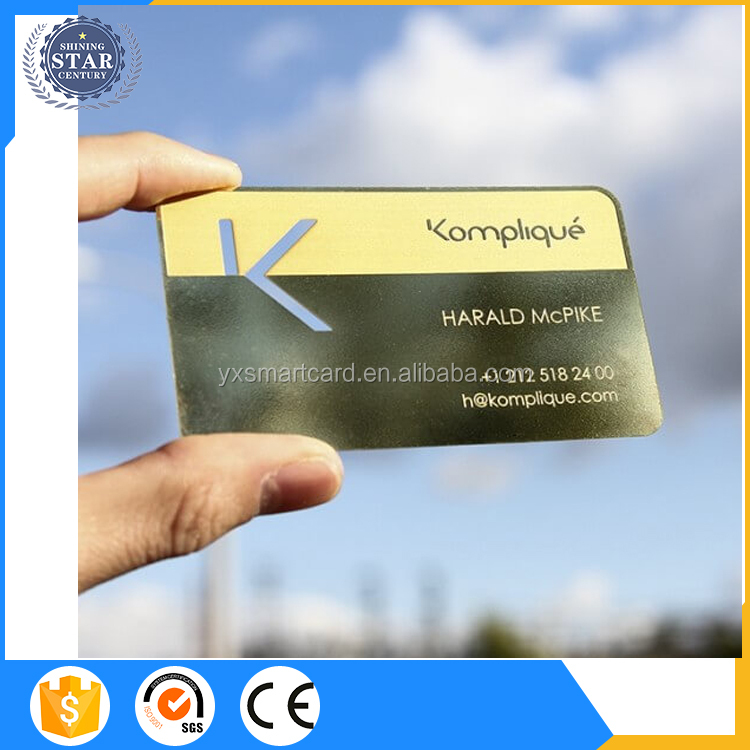 5 color printing plastic gold/rose gold metal business card with laser number