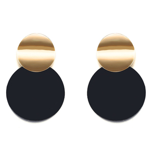 Unique Black Stud Earrings Trendy Gold Color Round Metal Statement Earrings for Women NS810194