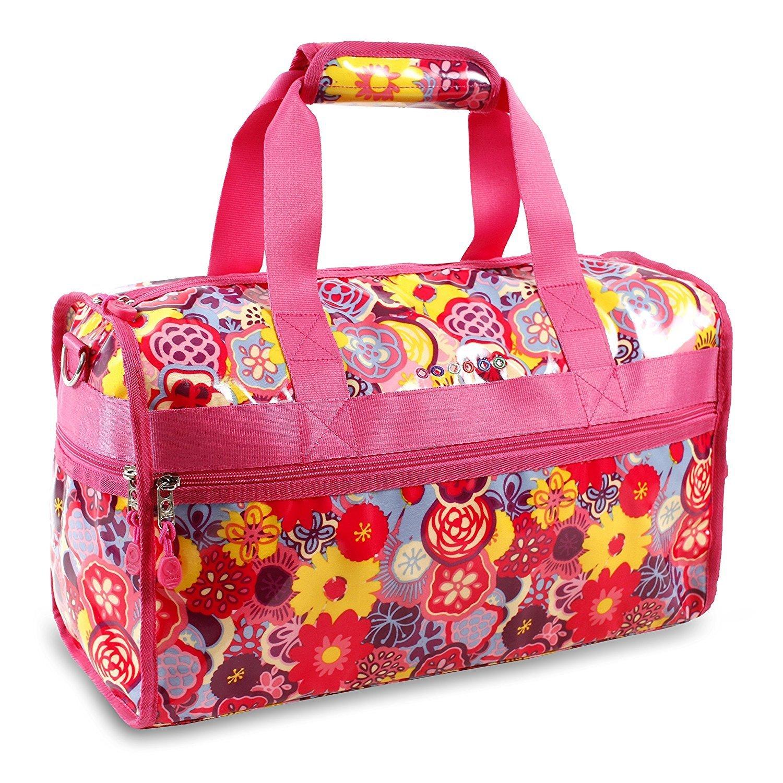 Girls Red Pink Floral Pattern Carry Duffle, Waterproof, Adjustable Shoulder