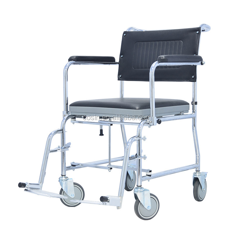 Chromed Steel Folding Commodes With Wheels Toilet Chair