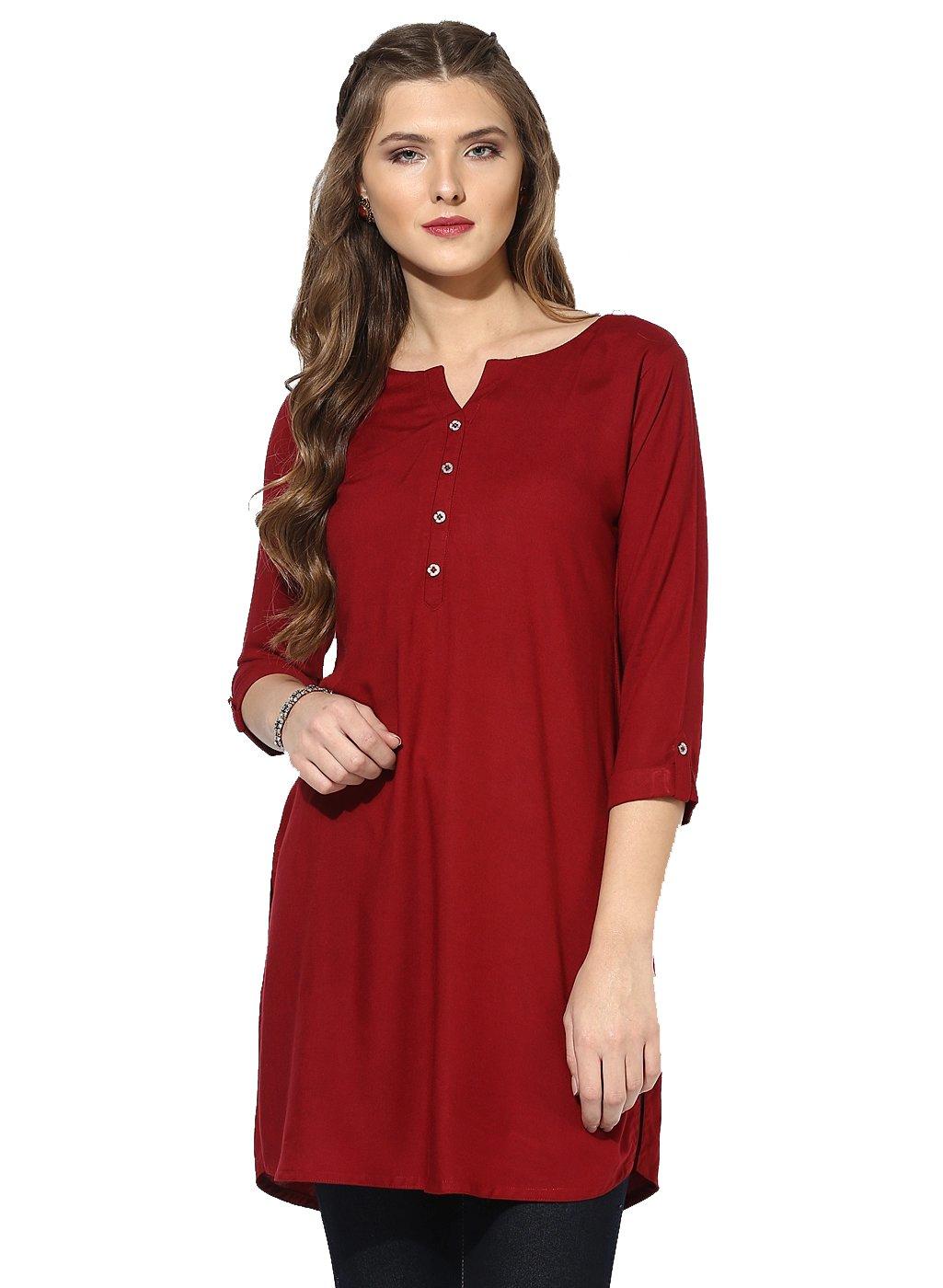 Aahwan Indian Kurtis for Women Maroon Solid Rayon Short Straight Half Sleeve Hip Long Tunic