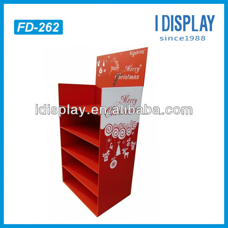 Christmas gift cardboard display rack for store retail