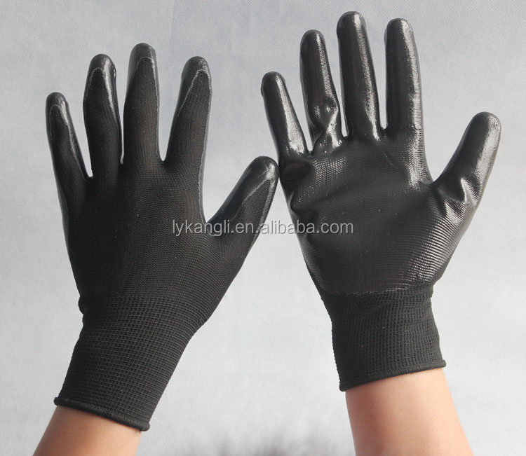 colored Nitrile dipped rubber coated gloves labor safety Protective glove