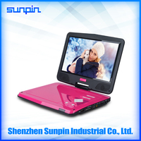 Region free quality cheap 10 inch pink portable dvd player with remote for kids
