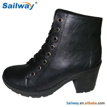 2014 Fashion Italian Winter Boots High Heel All Black Pu