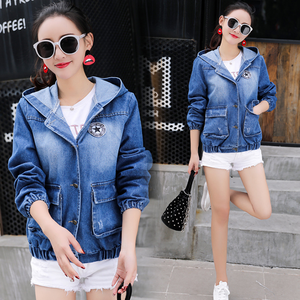 G10402a 2018 latest autumn korean new students school designer women loosing denim coats