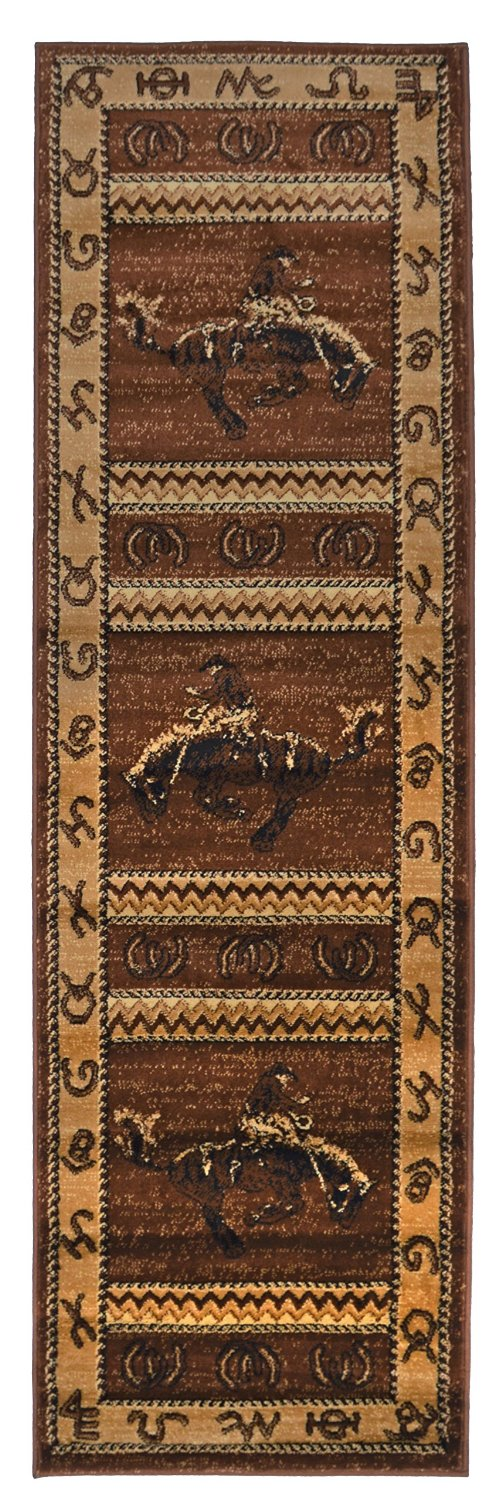 Get Quotations Rugs 4 Less Collection Cowboy Horse Western Cabin Style Lodge Runner Area Rug Design R4l 370