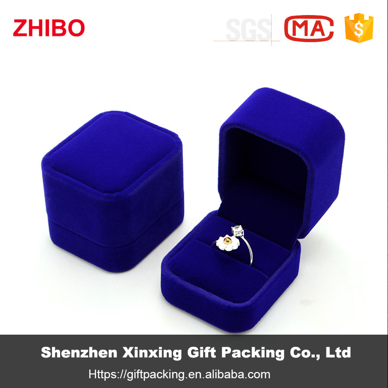 ZHIBO Hot Sale Blue Velvet Gift Jewelry Boxes