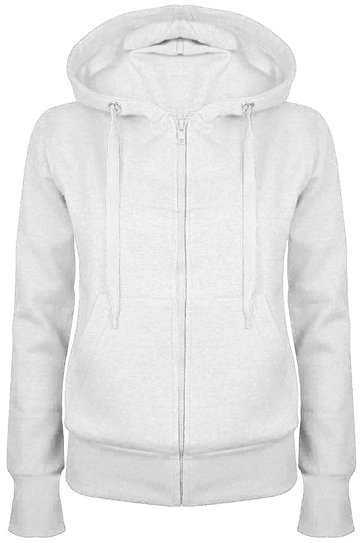 731f452dd Get Quotations · Oops Outlet Women's Plain Hooded Sweatshirts Zip Top  Hoodies Coat Jacket Hoody