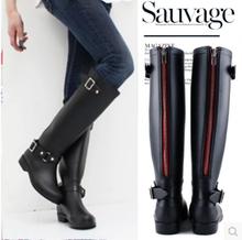 New 2015 Fashion Women Rain Boots Low Heels Waterproof Wellies Classic Woman Boots Plus Size Free Shipping