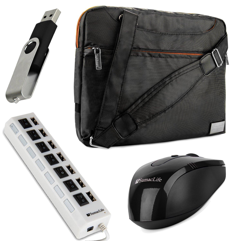 VanGoddy NineO Laptop Messenger Bag for Lenovo 15.6 inch Laptops with 7 Port USB Hub & USB Mouse & 4GB Thumbdrive, Orange