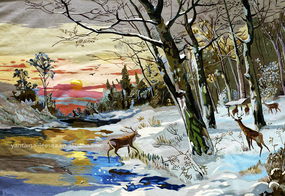 Yantai stunning hand stitched needlework snow deer scenery tableau rug pictorial carpet or wall tapestry craft