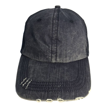 8c1e2ee724a302 Wholesale Low Profile Unstructured Washed Cotton Blend Twill Distressed  Trucker Hats