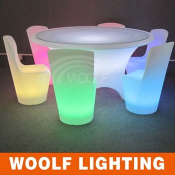 3d Colors Led Glass Top Rotating Dining Round Table